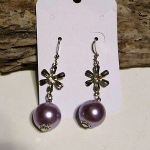 Nwt Lavender  and Silver  Earrings